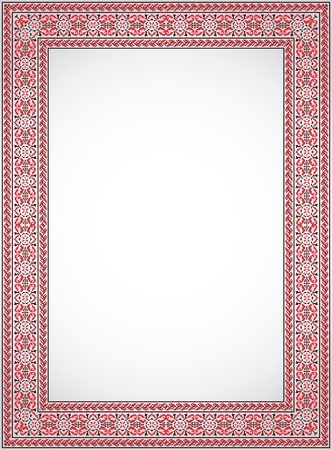 The vertical frame - a stylized cross stitch Ukrainian ornament Vector