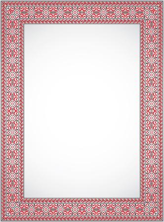 The vertical frame - a stylized cross stitch Ukrainian ornament Stock Vector - 14101542