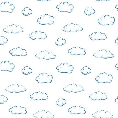 Blaue Wolken Zeichnung auf weißem Hintergrund - nahtlose Textur Standard-Bild - 14101506