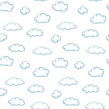 Blue drawing clouds on a white background - seamless texture Vector
