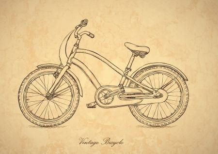 bicicleta retro: Cosecha de bicicletas - ilustración en el estilo retro