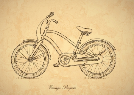 old pencil: Vintage bicycle - illustration in the retro style Illustration