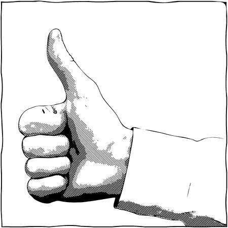 thumbup: A hand with a thumb up gesture - vector monochrome illustration