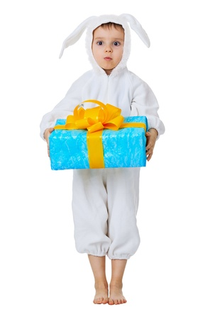 fancy box: Funny boy dressed as a rabbit with a gift in the hands isolated on white background