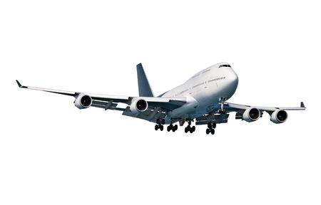 Modern passenger aircraft isolated on white background photo