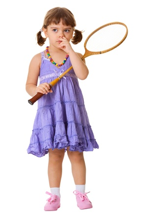Funny girl picks his nose, instead of playing badminton isolated on white background photo