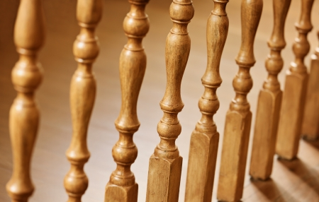banister: Old wooden balusters - architectural abstraction