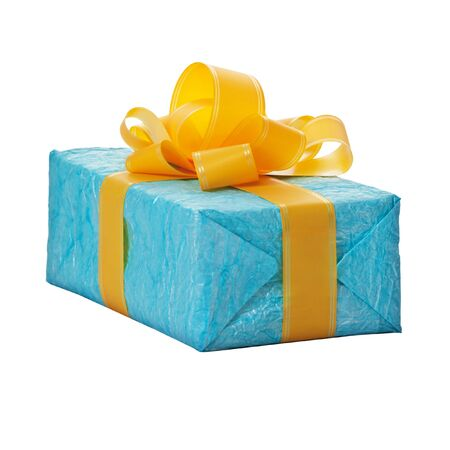 Gift in the blue box with yellow bow isolated on white background Stock Photo - 14187126