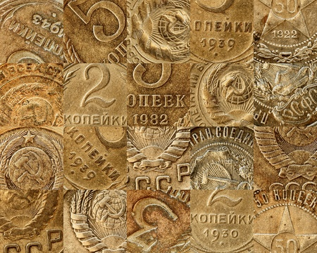 Old copper coins of the Soviet - a collage photo