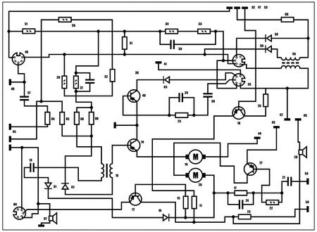 Elektro-Schema - Fantasie-Technologie Hintergrund Illustration