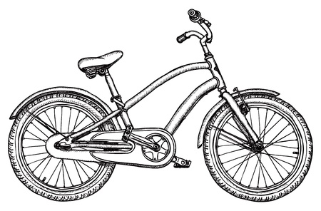 Ancient bicycle - rough black-and-white drawing Vector