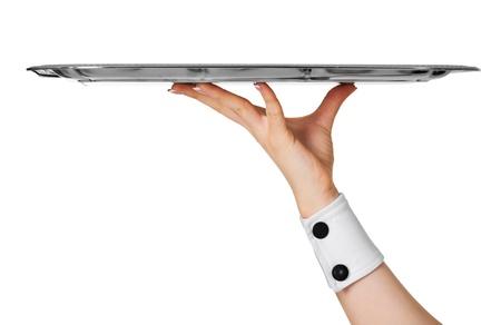 trays: Kelner die leeg metalen plaat close-up geïsoleerd op witte achtergrond Stockfoto