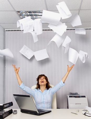 Enjoy working in the office - office business scene Stock Photo