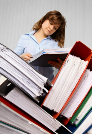 file clerks: Accountant and business documents - preparing for inspection
