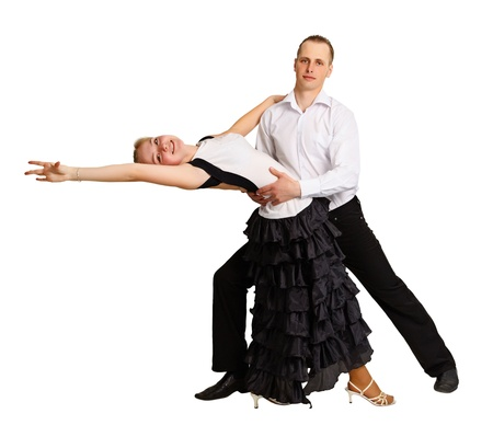 A man and a girl dancing ballroom dance isolated on white background photo
