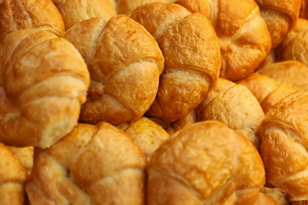 french bakery: Croissants  Placed on a tray after baking - the background Stock Photo