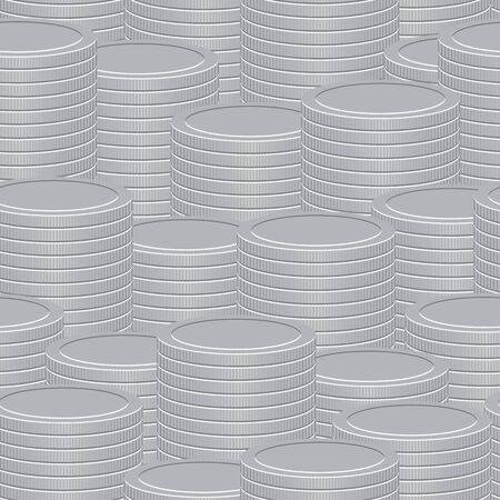 Abstract vector seamless background - a stacks of silver coins Vector