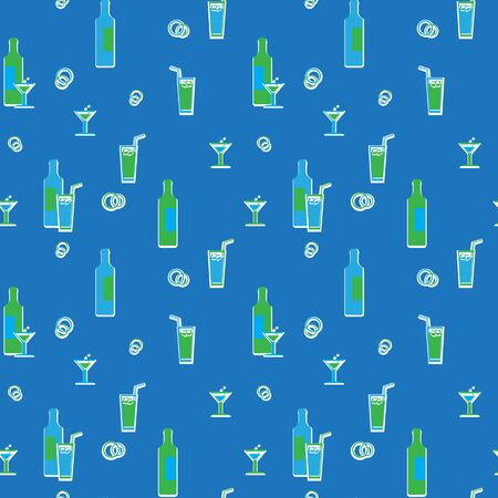 Wrapping paper. Theme of beverages. Retro Vector Illustration. Stock Vector - 14406092