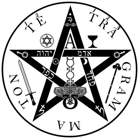 sacral: The ancient symbol. Tetragrammaton - ineffable name of God Illustration