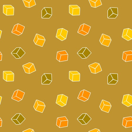 Abstract design yellow background - simple cubes Stock Vector - 14406088