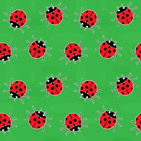 Seamless background - ladybugs on a green meadow Vector