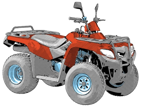 quad: Quad bike - Four-wheel motorcycle. Vector illustration.