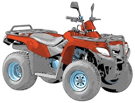 Quad - Vier-Rad-Motorrad. Vektor-Illustration. Standard-Bild - 14406100