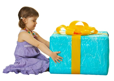 Happy girl with a big gift box isolated on white background Stock Photo - 14449702