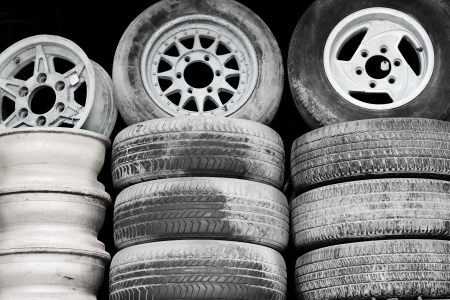 Old wheels on the sale of junk photo
