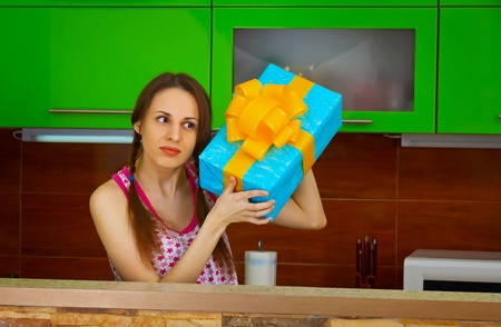 The young woman received a surprise gift Stock Photo - 14449714