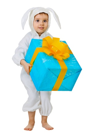 fancy box: Child dressed as a rabbit with a jumbo gift