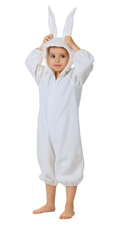 A boy dressed as a rabbit standing isolated on white background photo
