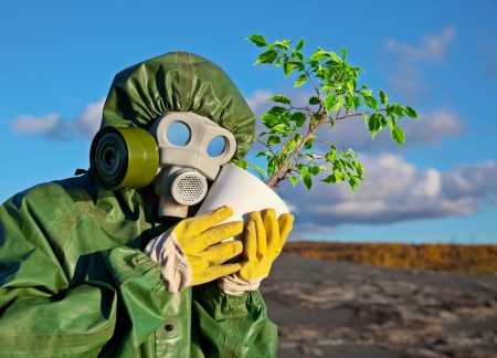 The biologists embrace genetically modified plant Stock Photo