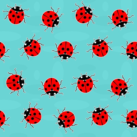 Ladybugs - old-fashioned seamless vector pattern Vector