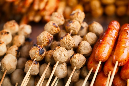 barbecues: Barbecues on the counter of the Asian market - Thailand Stock Photo