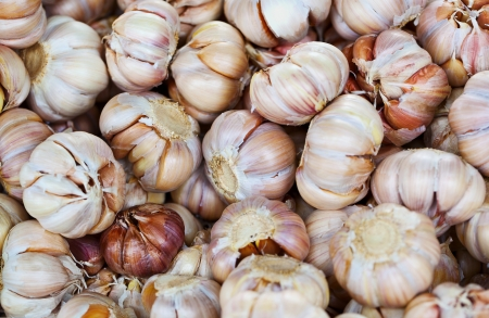Garlic on the counter of the eastern market - the background photo