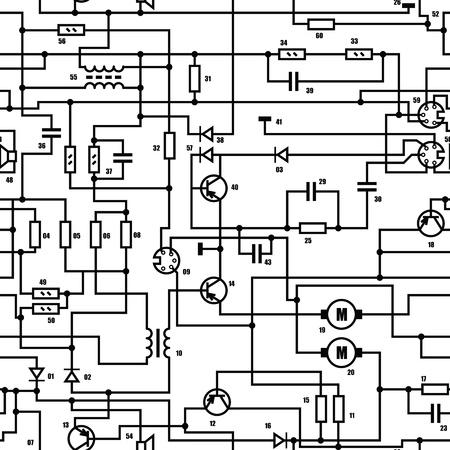 electrical circuit: Elettronico in bianco e nero diagramma - schematico tecnico senza soluzione di continuit�