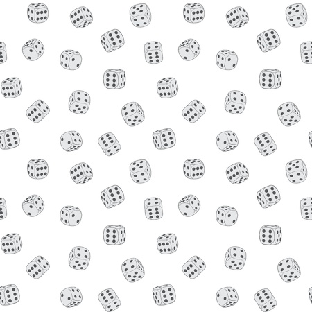 seamless texture - dices on a white background  Illustration