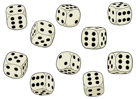 A set of simple dices on a white background