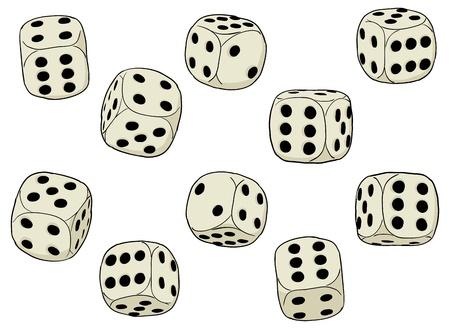 Een reeks eenvoudige dices op een witte achtergrond