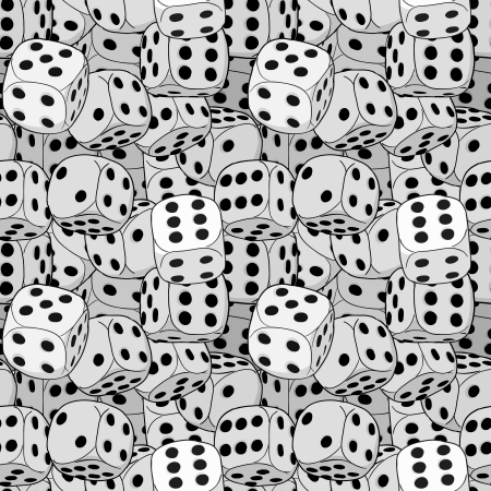 black and white image:  pattern - the dices close-up Illustration