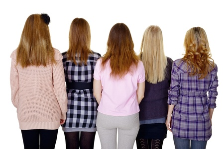 rear view girl: A group of young women - a rear view isolated on white background Stock Photo