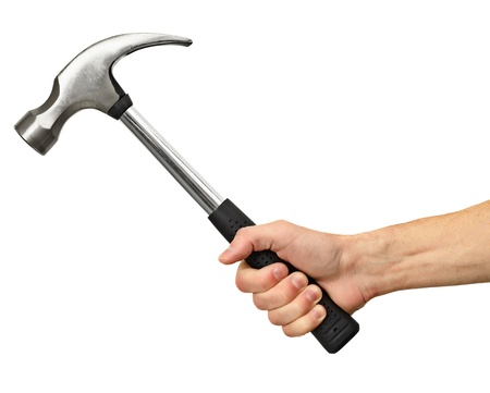 Big hammer in hand isolated on white background photo