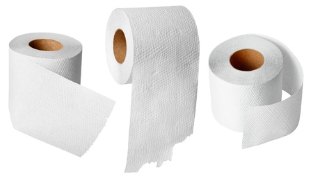 everyday: Rolls of toilet paper isolated on white background