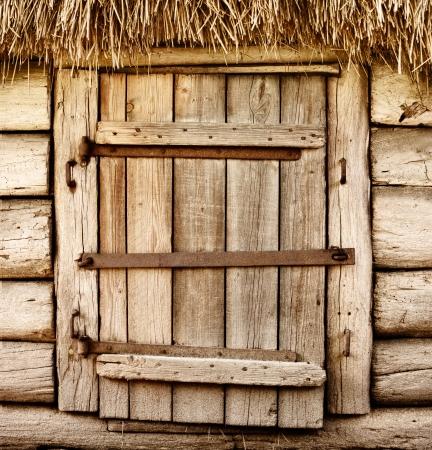 barn door: Wooden door of old rustic cabin