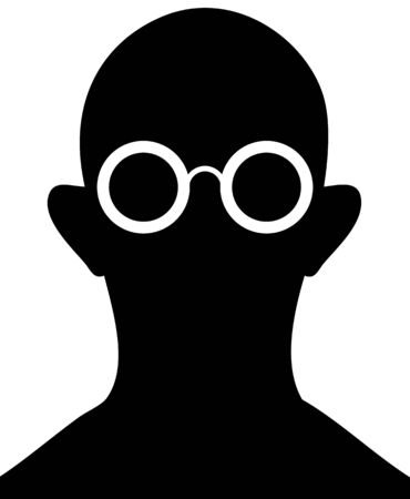 eyewear fashion: Silhouette of man with glasses on a white background