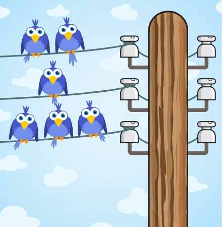isolator: Cheerful bird sitting on a high-voltage wires - vector eps8
