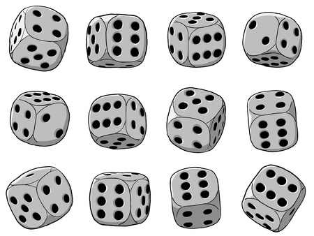 Vector illustration - set of dices on a white background Vector