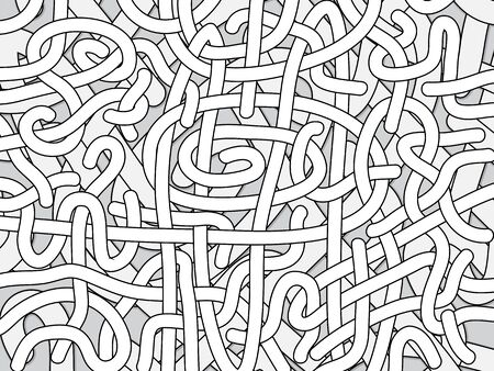 entangled: Entangled monochrome vector background - black and white