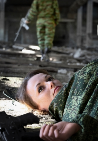 dead woman: A young woman - a soldier killed in shootout Stock Photo